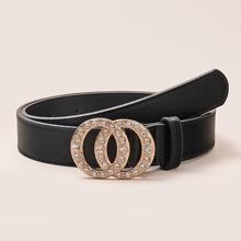 Rhinestone Decor Double O-ring Buckle Belt