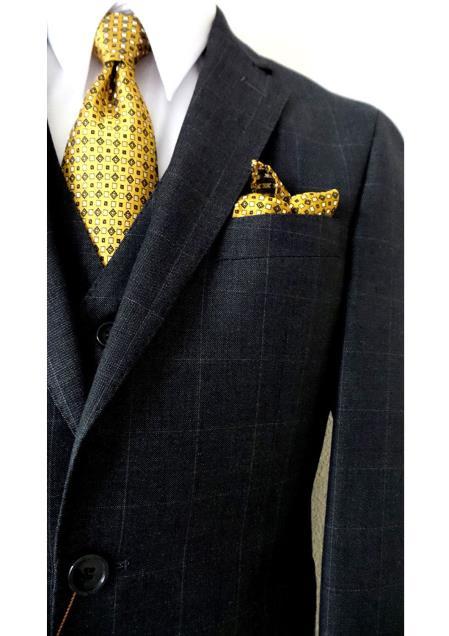 Bertolini 2Buttons Charcoal Plaid Slim Fit Wool&Silk Blends Suit Vest