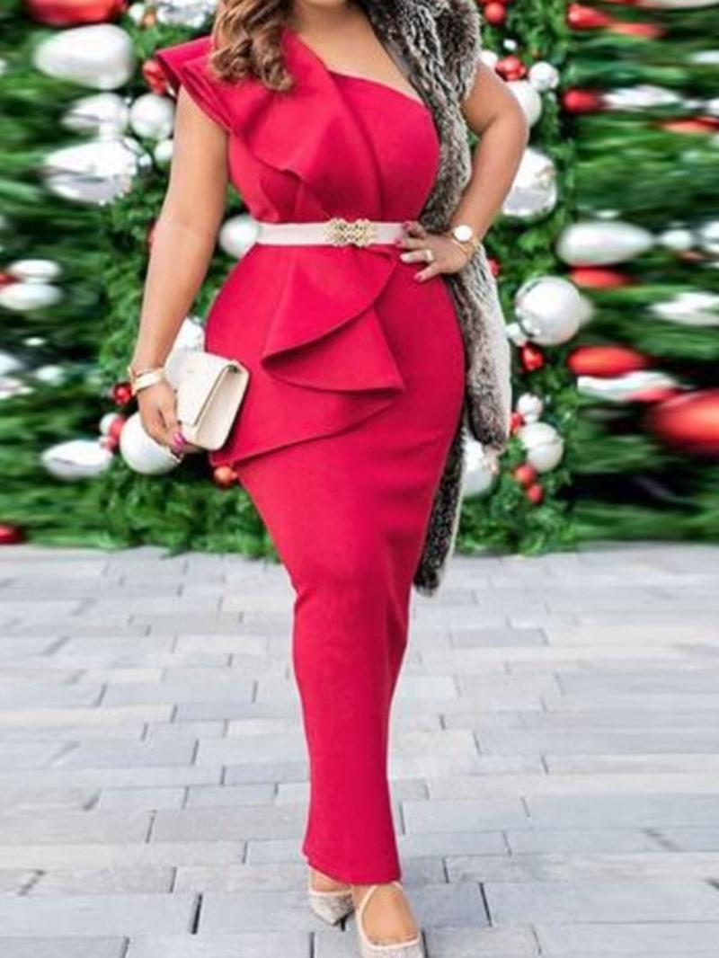 Ericdress Stringy Selvedge Ankle-Length Sleeveless One-Shoulder Summer Dress