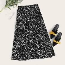 Dalmatian Print  Elastic Waist Skirt