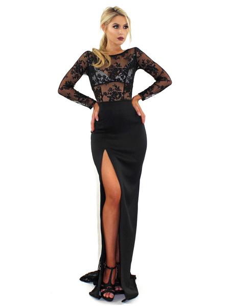 Milanoo Vestido largo negro  adornado con encaje con manga larga Vestidos de poliester semi-transparente con abertura lateral con escote redondo Veran