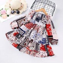 Toddler Girls Patchwork Print Smock Dress