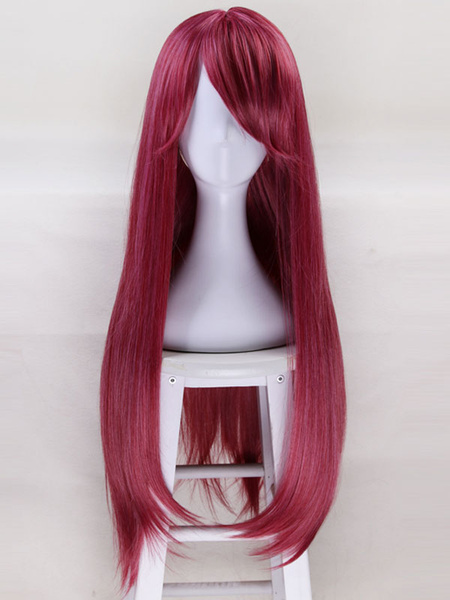 Milanoo Anime Kawaii Girl Burgundy Halloween Party Cosplay Wig