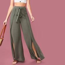 Einfarbige Hose mit Wickel Design und Guertel