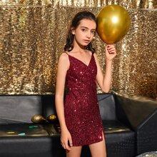 Cami Kleid mit Schlitz Detail und Pailletten