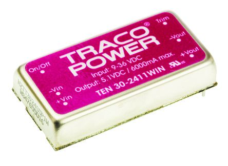 TRACOPOWER TEN 30WIN 30W Isolated DC-DC Converter Through Hole, Voltage in 9 → 36 V dc, Voltage out 5V dc