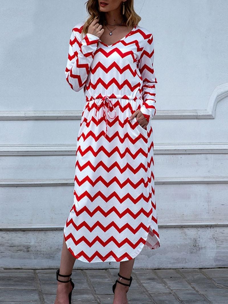 Ericdress V-Neck Split Mid-Calf Pullover Regular Dress