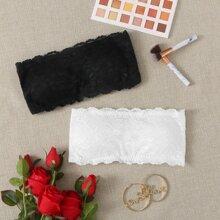 2pack Floral Lace Bandeau Bra Set