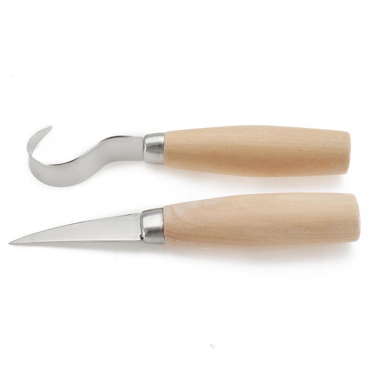 2pcs Spoon Wood Carving Chisel Top Set Woodcarving Tool Hook Whittling Beaver Craf Set
