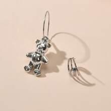 2 Stuecke Ohrringe mit Metall Baeren Dekor