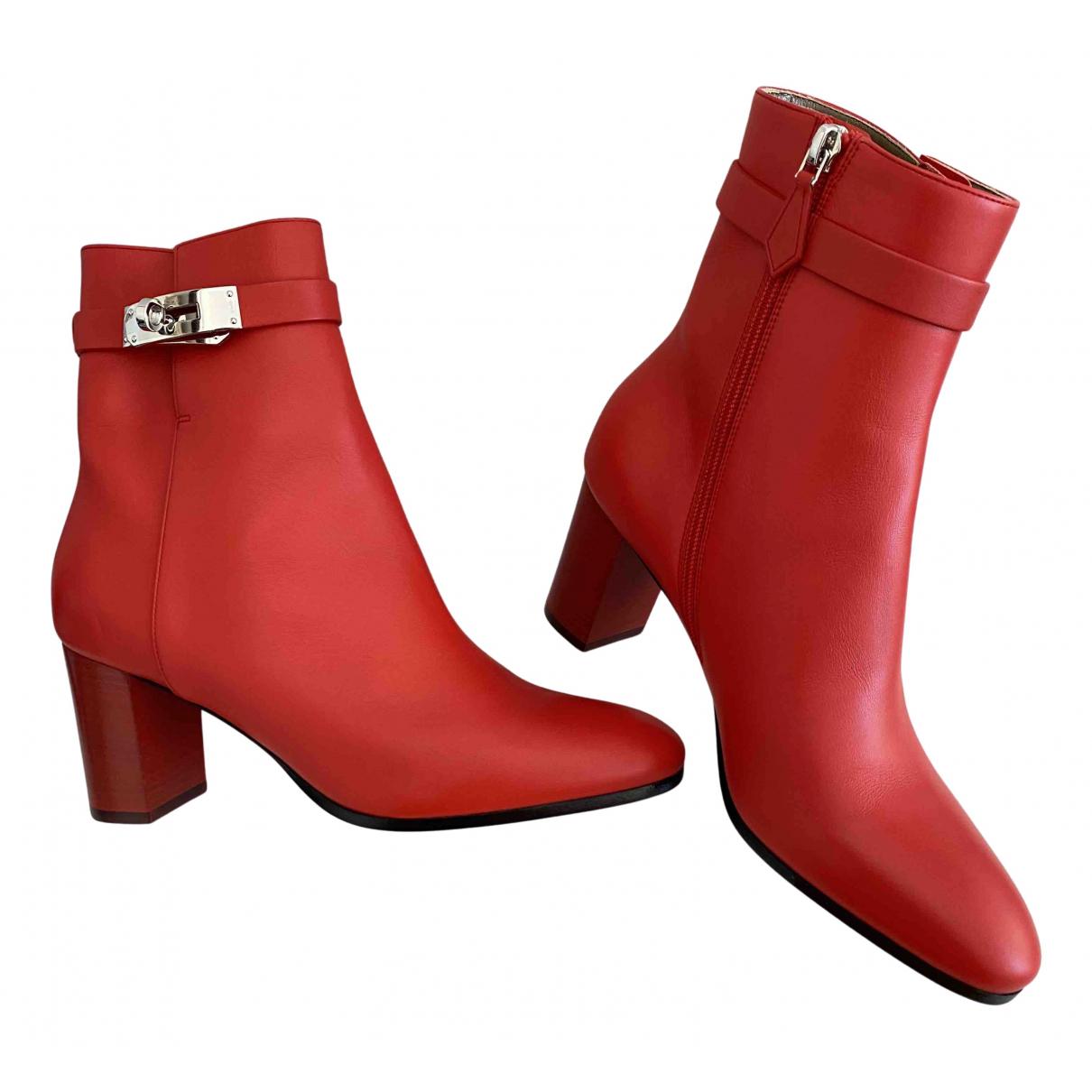 Hermes - Boots   pour femme en cuir - rouge