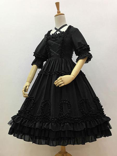 Milanoo Lolita dulce OP vestido delantero cruzado medias mangas de Lolita Vestidos de una pieza