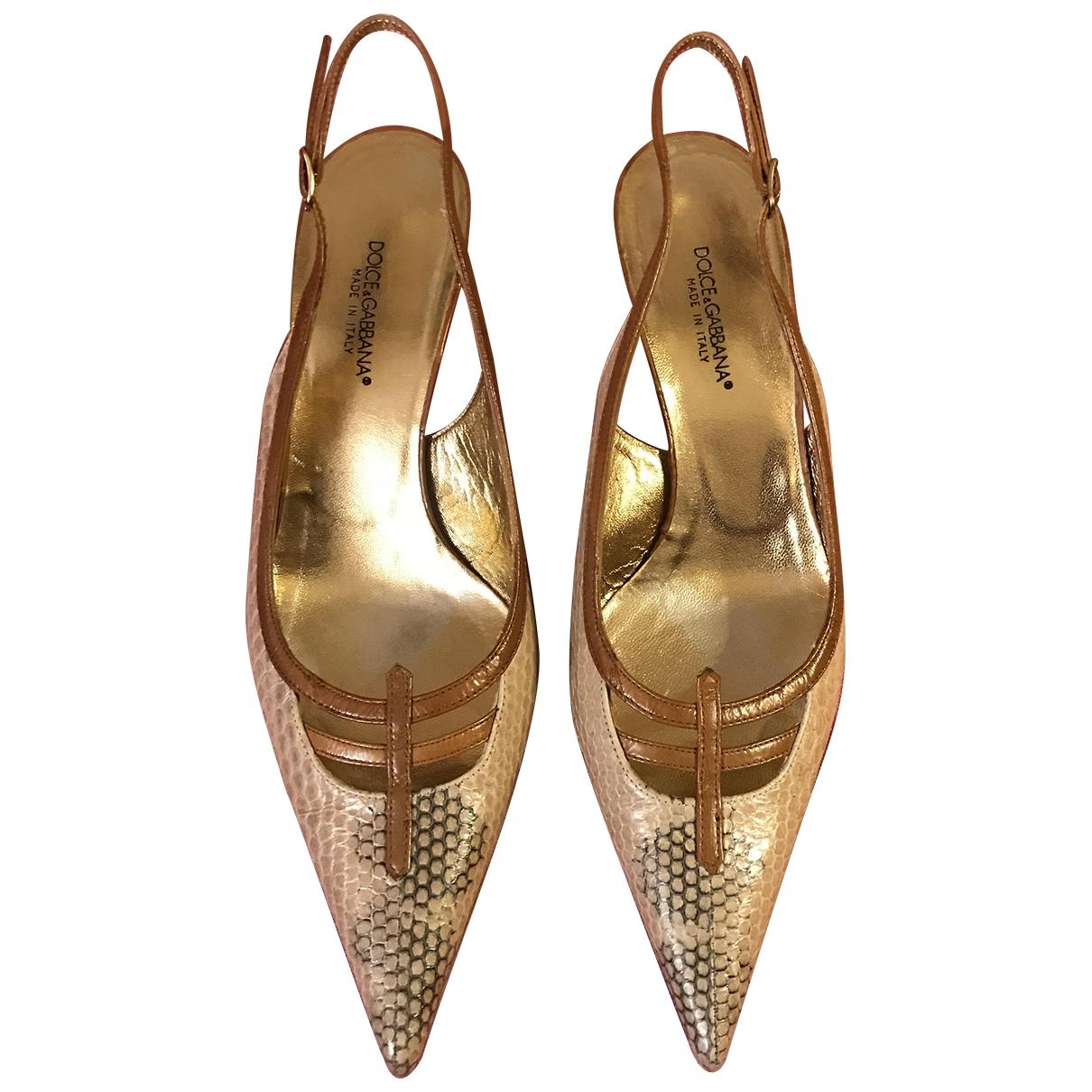 Dolce & Gabbana \N Beige Water snake Heels for Women 37 EU