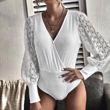 Contrast Lace Sleeve Rib-knit Bodysuit