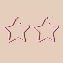 Star Shaped Resin Hoop Earrings