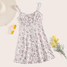Single Breasted Frill Trim Ruched Bust Ditsy Floral Slip Dress