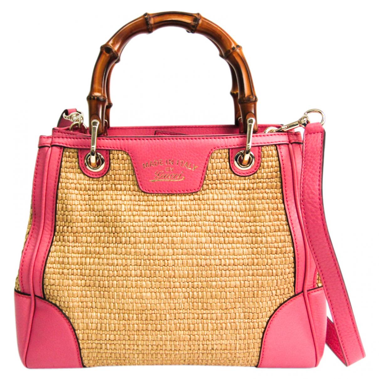 Gucci Bamboo Handtasche in  Beige Leder