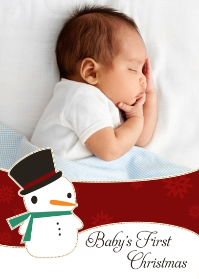 Christmas Photo Cards Mail-for-Me Premium 5x7 Folded Card , Card & Stationery -Sweet Snowman