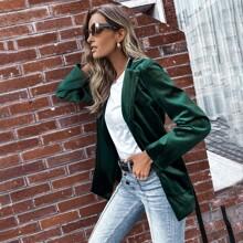 Lapel Collar Dual Pocket Belted Velvet Blazer