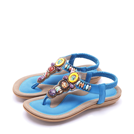Yoins Boho style Jewelled Design Sandals in Blue