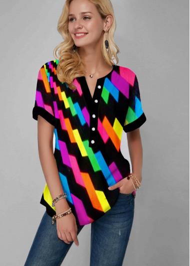 Split Neck Gradient Geometric Print Rainbow Color Blouse - M