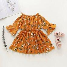 Toddler Girls Floral Frill Bardot Corduroy Dress