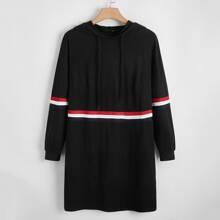 Hoodie Kleid mit Streifen und Kordelzug