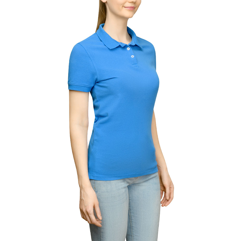 Page & Tuttle Solid Jersey Polo Golf Shirt Blue- Womens- Size L