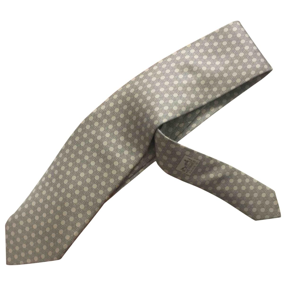 Hermes \N Krawatten in  Weiss Seide