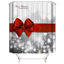 Christmas Pattern Shower Curtain With 12hooks