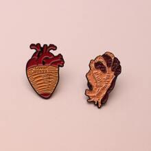 2 Stuecke Brosche mit Herzen Design