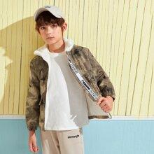 Boys Slogan Tape Faux Fur Lined Camo Jacket