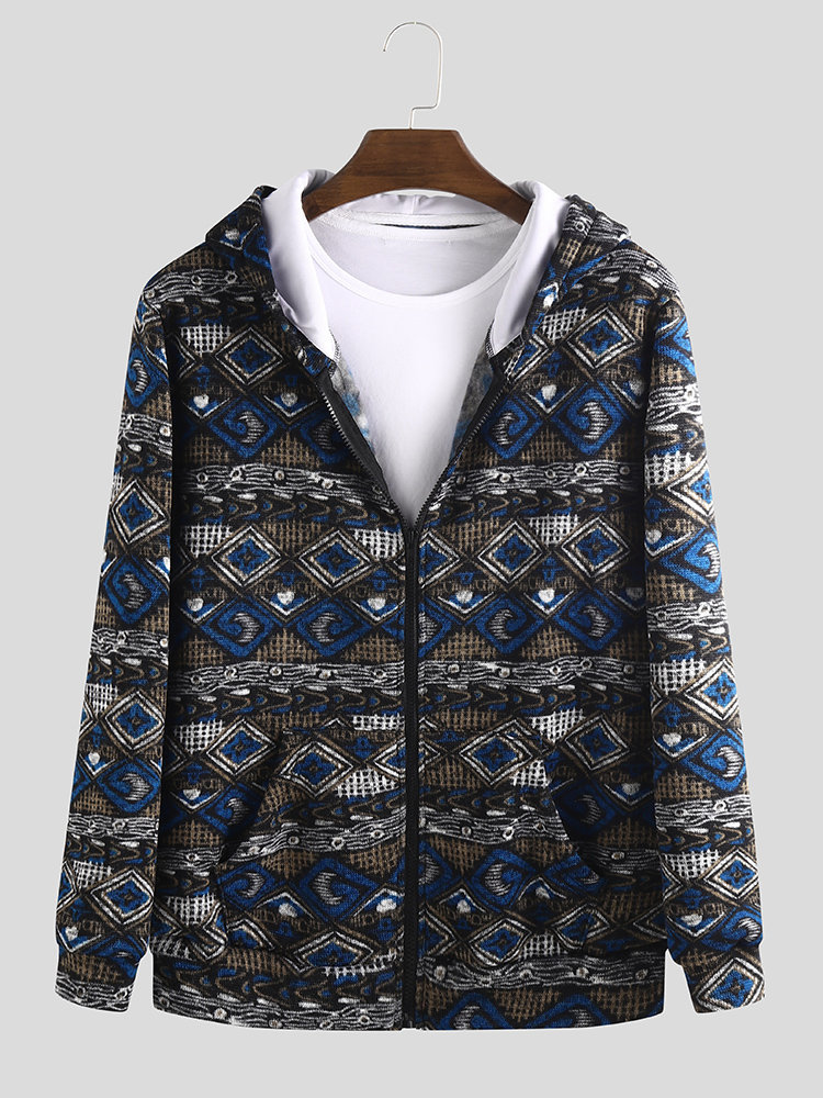 Mens Ethnic Style Printing Vintage Loose Long Sleeve Fashion Hoodies