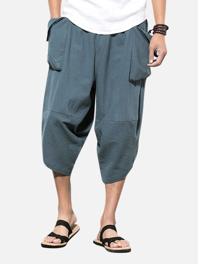 Mens National Style Cotton Calf-Length Solid Color Casual Harem Pants