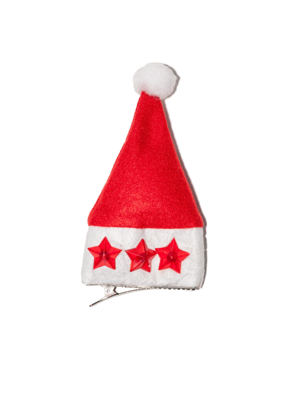 Kostuemzubehor Mini Weihnachtsmuetze mit Sternen rot
