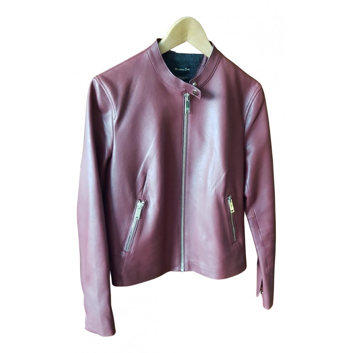 Massimo Dutti \N Burgundy Leather Leather jacket for Women L International