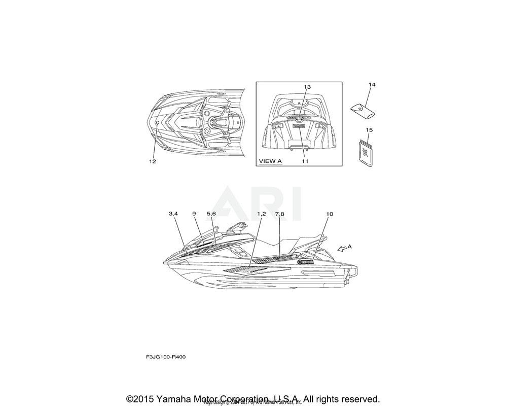 Yamaha OEM F3J-U417B-A1-00 GRAPHIC 1 | FOR BLUE