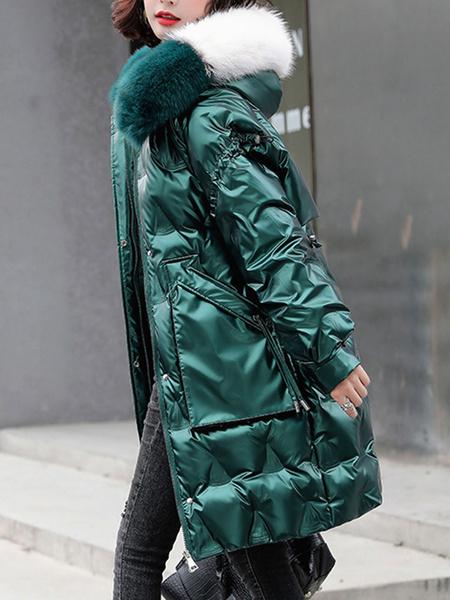 Milanoo Abrigos acolchados para mujer Bolsillos negros hasta la rodilla Cremallera con capucha Mangas largas Ropa de abrigo informal de invierno