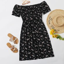 Plus Ditsy Floral Print Shirred Bardot Dress