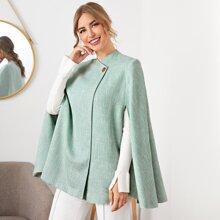 Buttoned Detail Cloak Sleeve Tweed Cape Coat