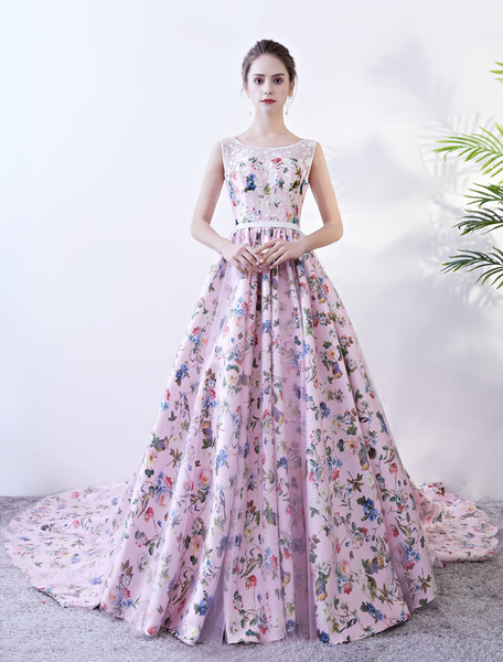 Milanoo Pink Prom Gowns Floral Print Sleeveless Quinceanera Dress Lace Sash A Line Women Pageant Dress