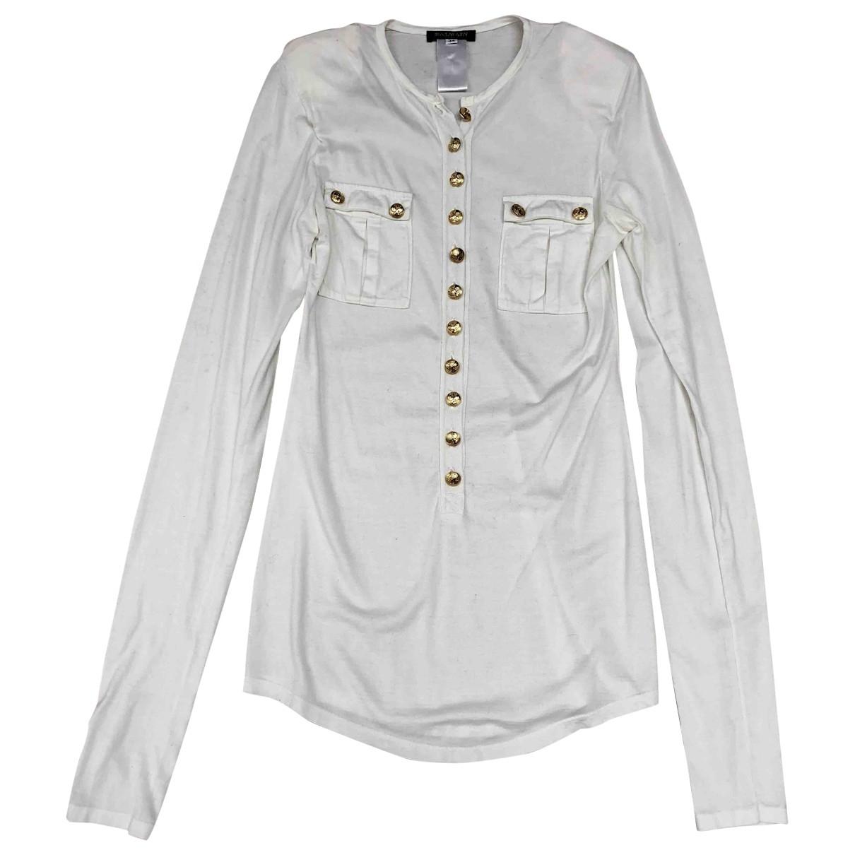 Balmain \N Ecru Cotton  top for Women 34 FR