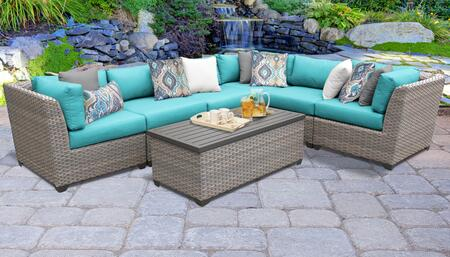 FLORENCE-07b-ARUBA Florence 7 Piece Outdoor Wicker Patio Furniture Set 07b with 2 Covers: Grey and