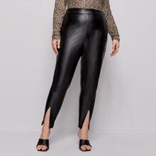 Pantalones PU bajo con abertura