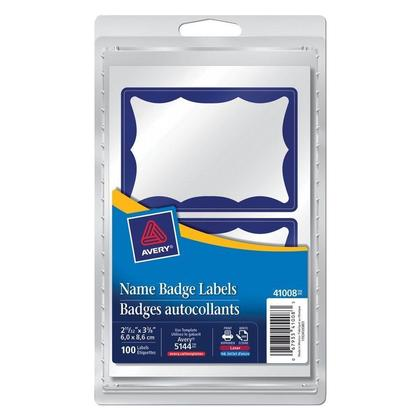Avery@ Self-Adhesive Name Badge Labels, 2-11/32 x 3-3/8 - Blue Border 416230
