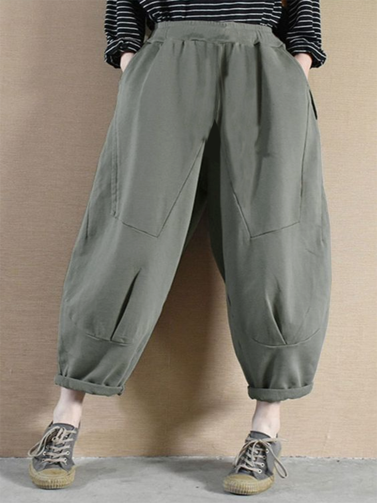 Casual Loose Solid Color Plus Size Pants with Pockets