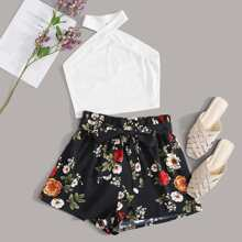 Rib-knit Halter Top & Belted Floral Shorts Set