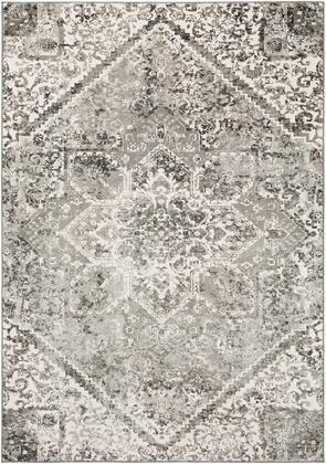 Soleil SOI-2311 53 x 73 Rectangle Traditional Rugs in Black  Medium Gray  Light Gray