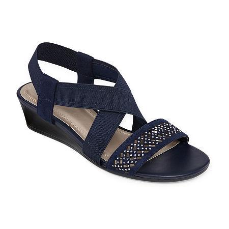 east 5th Womens Greece Wedge Sandals, 5 1/2 Medium, Blue