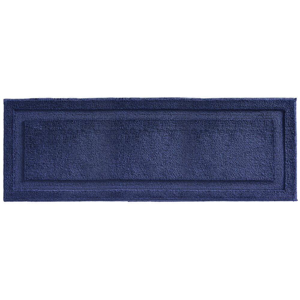 mDesign Microfiber Bath Mat, Non-Slip Bathroom Rug, in Navy, 60
